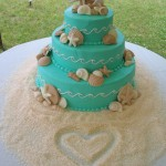 17 Beach Teal Waves Crashing with White Chocolate Seashells and Heart in Sugar Sand