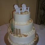 2 Beach Adirondack and Fence Wedding Cake