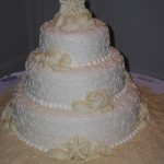 3 Beach Seashell and Scroll Cake