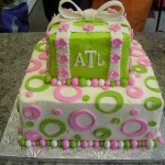 wedding pink and green monogram present
